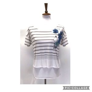 So* striped shirt sleeve crop tee shirt size M